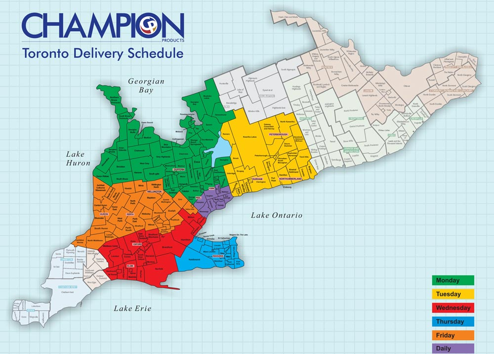 Toronto Delivery Schedule