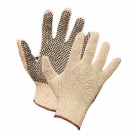 Forcefield String Knit Cotton Work Gloves L With PVC Dots on Palm - 004-01876-09