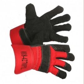 Forcefield Big Nikita Split Leather Pile Lined Glove Black/Red - 0184270PL