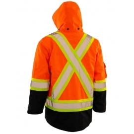Forcefield Hi Visibility 4 in1 Winter Parka/Jacket L Orange Hooded, With Jacket and Vest - 024-EN705ROR-L