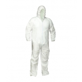 Forcefield White Microporous Disposable Coverall with Hood L - 024-FNW428-L