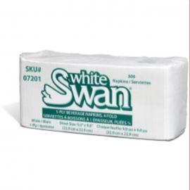 White Swan 1 ply White, 4 Fold Beverage Napkins 500sh/pk - 07201 - 8pk/cs