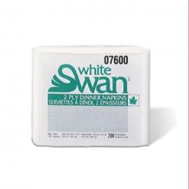 White Swan White, 8 Fold Dinner Napkins - 07600