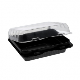 """Pactiv ClearView SmartLock OPS Snackbox 6"""" x 6"""" / 16 oz Plastic Hinged Container - 0EH896020000 - 200/cs"""