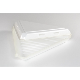 """Pactiv 9"""" White Pizza Clamshell Foam Hinged Container - 0TH1VP110000 - 20sl/cs"""