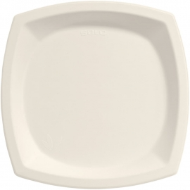 "Dart Solo Bare 10"" Sugarcane Bagasse Paper Plates Ivory - 10PSC-2050 - 500/cs"
