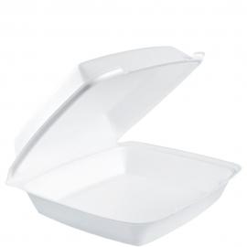 "Dart Insulated White 10"" x 10"" Foam Hinged Container - 110HT1 - 500/cs"