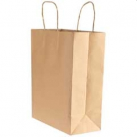 "Kari-Out Small Kraft Rope Handle Paper Bags 9.65"" x 5.31"" x 13.39"" - 1200110 - 250/Bn 9.65X5.31X13.39IN Rope Handle 90GSM"