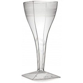 Fineline Settings Square Plastic Wine Glass 8oz Speciality Food Service Supplies Clear - 1208L - 72/cs