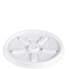 Dart White Vented Lid fits Foam Cups - 12JL - 1000/cs