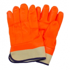 Forcefield Chemical Resistant PVC Coated Orange Gloves with Safety Cuff, Fleece Lined - 1402781