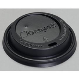 Genpak Black Plastic Flat Lids fits 10 oz - 20 oz Plastic Cups  - 14HL-BL - 1000/cs