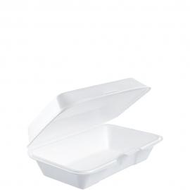"Dart Insulated White Foam Hinged Container 8.9"" x 5.63"" x 2.9"" - 201HT1 - 250/cs"