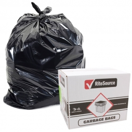 "RiteSource 20"" x 22"" Regular Black Garbage Bags- 2022RB - 500/cs"