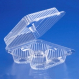 Inline 4 Cup Cake/Muffin Holder Large PET Plastic - 202560 - 300/cs