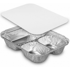 HFA Oblong 3 Compartment and Lid Combo - 2045-35-250W - 250/cs