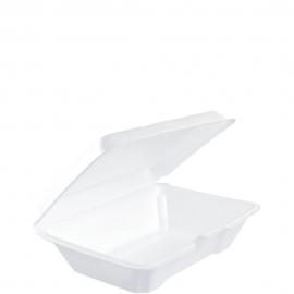 "Dart Insulated White Foam Hinged Container 9.3"" x 6.4"" x 2.9"" - 205HT1 - 200/cs"