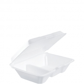"""Dart Performer Insulated White 3 Compartment Foam Hinged Container 9.3"""" x 6.4"""" x 2.9"""" - 205HT2 - 200/cs"""