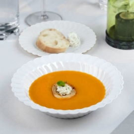 Fineline Settings White Plastic Bowl 12oz Speciality Food Service Supplies - 212WH - 180/cs