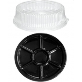 """PartiPak Black Compartment Tray 8"""" With Low Dome - 2602069 - 100/cs"""