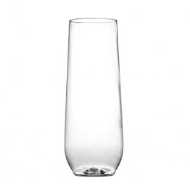 Fineline Settings Renaissance Plastic Stemless Champagne Flute 10oz Party Supplies Clear - 2710CL - 64/cs