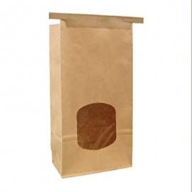 "Paper Stand Up Window Bakery Bag 4.75"" x 2.5"" x 9.5"" 1lb - 300249 - 500/cs"