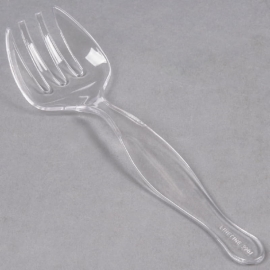 """Fineline Settings Clear Plastic Serving Forks 8.5"""" Speciality Food Service Supplies - 3301L - 144/cs"""