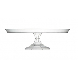 "Fineline Settings Clear Cake Stand 11.75"" Speciality Food Service Supplies Plastic 2 Piece - 3601CL - 12/cs"