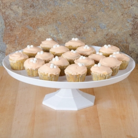 "Fineline Settings White Cake Stand 11.75"" Speciality Food Service Supplies Plastic 2 Piece - 3601WH - 12/cs"
