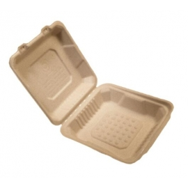 """CKF FSTP2 Bagasse Hinged Container 8"""" x 8"""" - 37712 - 200/cs"""