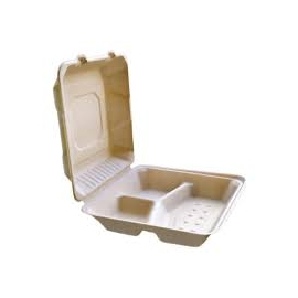 """CKF FSTP23C 3 Compartment Bagasse Hinged Container 8"""" x 8"""" x 2.5"""" - 37713 - 200/cs"""