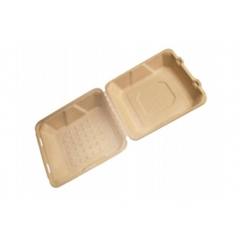 """CKF FSTP6 Bagasse Hinged Container 9"""" x 9"""" x 3.2"""" - 37716 - 200/cs"""