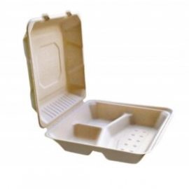 """CKF FSTP6A3C 3 Compartment Bagasse Hinged Container 9"""" x 9"""" x 3.2"""" - 37717 - 200/cs"""