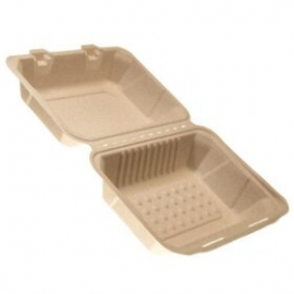 "CKF FSTP1 Bagasse Hinged Container Bagasse Hinged Container 9"" x 6"" x 3.3"" - 37718 - 200/cs"