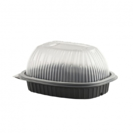 "Anchor Packaging Chicken Roaster 9.3"" x 7.71"" x 4.68"" Plastic Containers with Dome Lid - 4110001 - 100/cs"