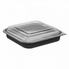 Anchor Packaging Culinary Squares Microwavable Combo 36 oz Plastic Hinged Container Black Base, Anti-fog Microwavable Low Dome Lid, Combo Pack - 4118521 - 150/cs