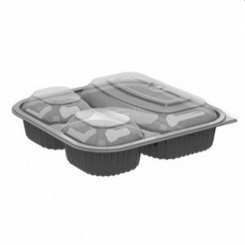 Anchor Packaging Culinary Squares 3 Compartment Microwavable Combo 21oz/6oz/6oz Plastic Hinged Container Black Base, Anti-fog Microwavable Low Dome Lid, Combo Pack - 4118523 - 150/cs