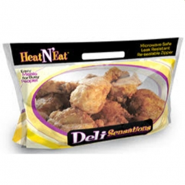 "Heat N Eat 8pc Fried Chicken Pouch 14""x 8.25"" x 5.5"" Resealable Pouch - 414079 - 250/cs"