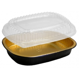 HFA Gourmet to Go Small Gold/Black with Dome Lid Combo - 4201-55-100WDL - 100/cs