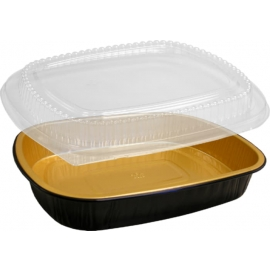 HFA Gourmet to Go Large Entre Gold/Black with Dome Lid Combo - 4203-70-50WDL - 50/cs