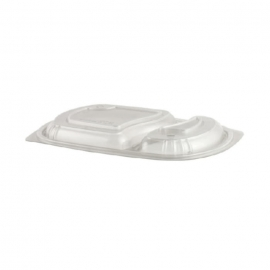 "Anchor Packaging Microraves 2 Compartment Clear Dome Lid 10.25"" x 7.25"" x 1.08"" Plastic Containers Microwavable - 4330712 - 252/cs"