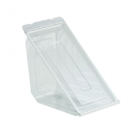 "Anchor Packaging Deliview Plastic PET Hinged Sandwich Container 6.63"" x 3.56"" x 3.52"" Plastic Hinged Container - 4511019 - 250/cs"