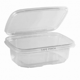 "Anchor Packaging Safe Pinch Tamper Clear Hinged Container 24oz Plastic Hinged Container 7"" x 6"" - 4512000 - 200/cs"