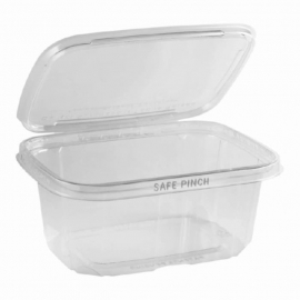 "Anchor Packaging Safe Pinch Tamper Clear Hinged Container 32oz Plastic Hinged Container 7"" x 6"" - 4512015 - 200/cs"