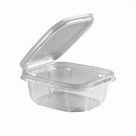"Anchor Packaging Safe Pinch Tamper Clear Hinged Container 12oz Plastic Hinged Container 6"" x 5"" - 4512025 - 200/cs"