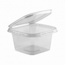 """Anchor Packaging Safe Pinch Tamper Clear Hinged Container 12oz Plastic Hinged Container 5"""" x 5"""" - 4515513 - 200/cs"""