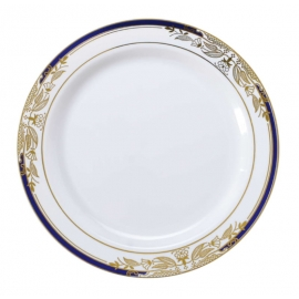 "Fineline Settings Signature Blu Plastic Plates 7.5"" Plastic Plates White with Blue and Golden Rim - 4907WHBG - 120/cs"