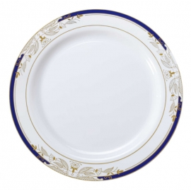 "Fineline Settings Signature Blu White Plastic Plates 10.25"" Plastic Plates With Blue and Golden Rim - 4910WHBG - 120/cs"