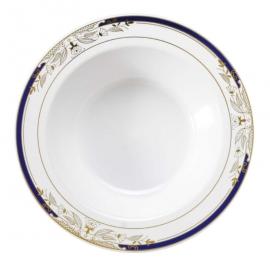 Fineline Settings Signature Blu White Plastic Bowl 12oz Plastic Plates With Blue and Golden Rim - 4912WHBG - 120/cs