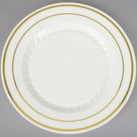 "Fineline Settings Plastic Bone Round Plates 6"" Plastic Plates With Golden Bands - 506BO - 15 x 10/cs"